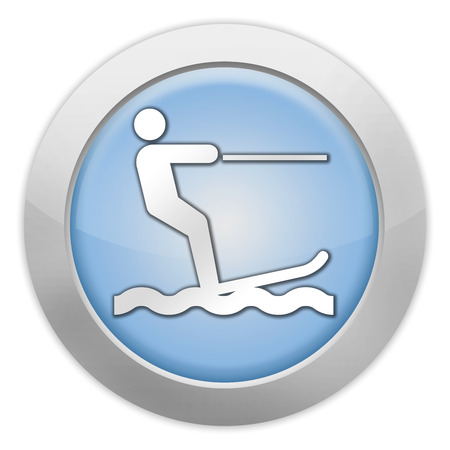 water skiing: Icon, Button, Pictogram with Water Skiing symbol Stock Photo