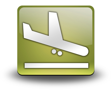 Icon, Button, Pictogram with Airport Arrivals symbol