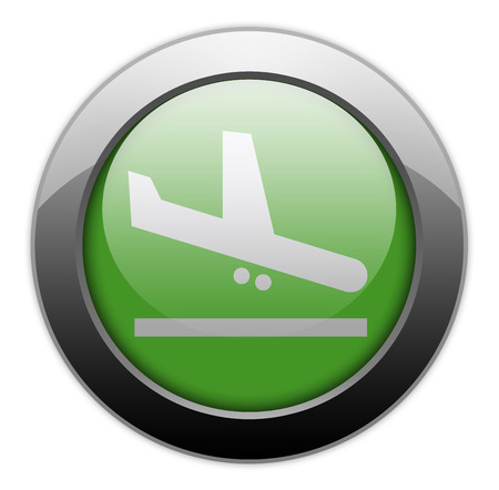 arrivals: Icon, Button, Pictogram with Airport Arrivals symbol