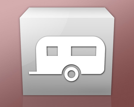 campground: Icon, Button, Pictogram with Camping Trailer symbol