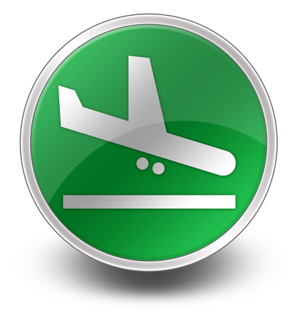 aerodrome: Icon, Button, Pictogram with Airport Arrivals symbol