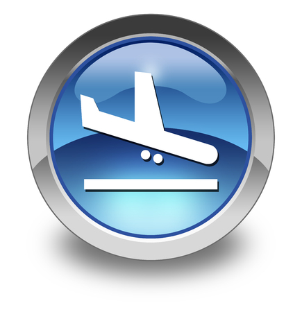 air port: Icon, Button, Pictogram with Airport Arrivals symbol