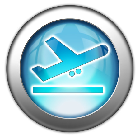 aerodrome: Icon, Button, Pictogram with Airport Departures symbol