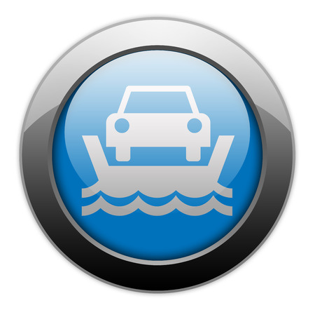 ferry boat: Icon, Button, Pictogram with Vehicle Ferry symbol Stock Photo