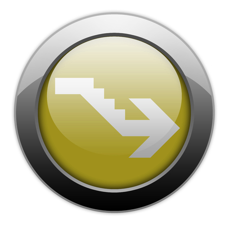 Icon, Button, Pictogram with Downstairs symbol Stock Photo