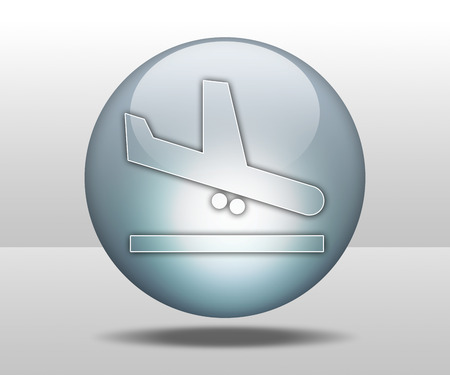 airfield: Icon, Button, Pictogram with Airport Arrivals symbol