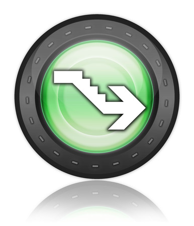downstairs: Icon, Button, Pictogram with Downstairs symbol Stock Photo