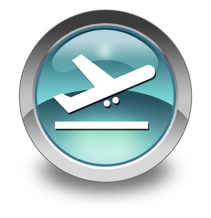 air port: Icon, Button, Pictogram with Airport Departures symbol