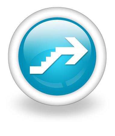 advisory: Icon, Button, Pictogram with Upstairs symbol Stock Photo