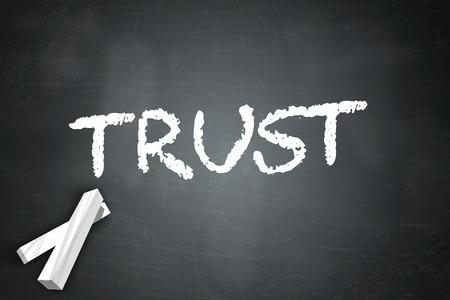 Blackboard met Trust verwoording Stockfoto