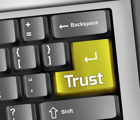 tax law: Keyboard Illustration with Trust wording Stock Photo