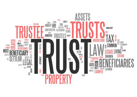 Wordcloud avec des étiquettes de fiducie liées Banque d'images - 48207399