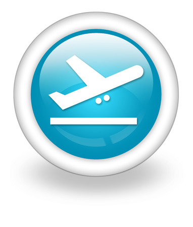 airplane take off: Icon, Button, Pictogram with Airport Departures symbol