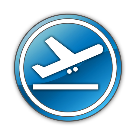 departures: Icon, Button, Pictogram with Airport Departures symbol