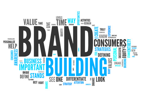 wordcloud: Wordcloud with Brand Building related tags Stock Photo