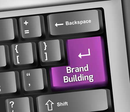 defining: Keyboard Illustration with Brand Building wording Stock Photo