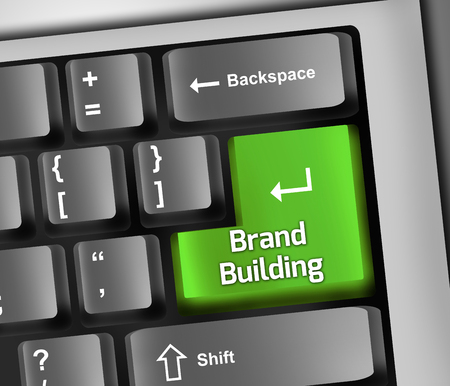 differentiate: Keyboard Illustration with Brand Building wording Stock Photo