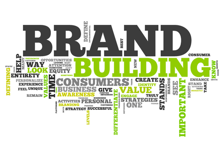defining: Wordcloud with Brand Building related tags Stock Photo