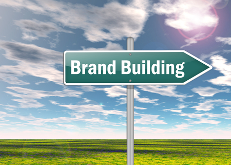 defining: Signpost with Brand Building wording Stock Photo