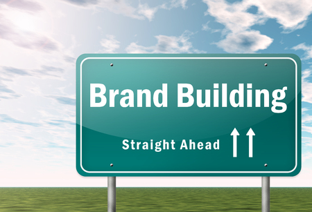 highway sign: Signpost with Brand Building wording Stock Photo