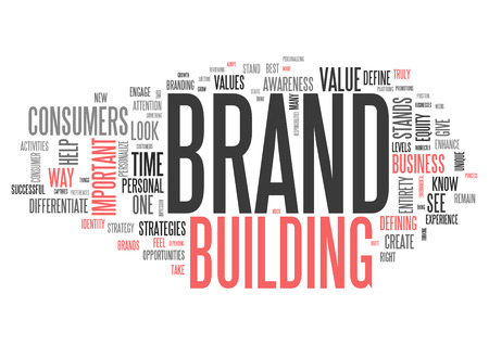 Wordcloud with Brand Building related tags Stock Photo