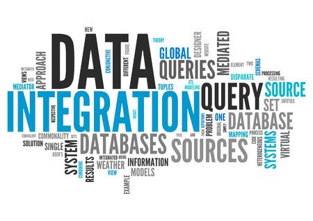 データ統合の言葉遣いと単語の雲 写真素材