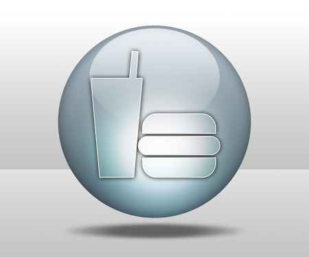 take out food: Icon, Button, Pictogram with Fast Food symbol