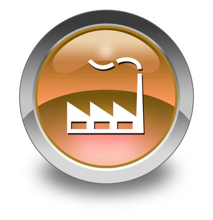 manufactory: Icon, Button, Pictogram with Factory symbol Stock Photo