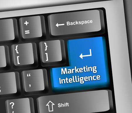computer key: Keyboard Illustration with Marketing Intelligence wording