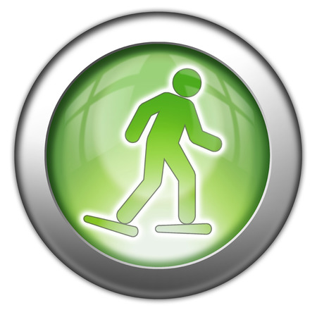 pushbuttons: Icon, Button, Pictogram with Snowshoeing symbol Stock Photo