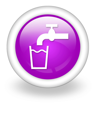 drinkable: Icon, Button, Pictogram with Running Water symbol Stock Photo