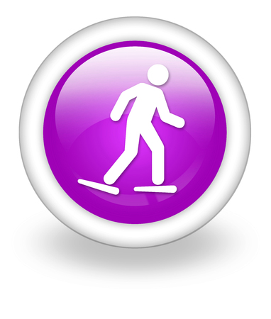 Icon, Button, Pictogram with Snowshoeing symbol Stock Photo