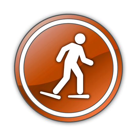 walking trail: Icon, Button, Pictogram with Snowshoeing symbol Stock Photo
