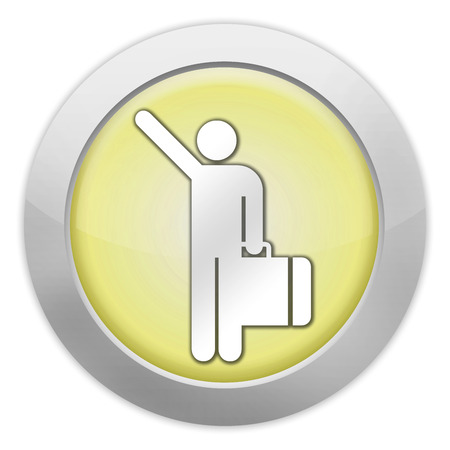 arriving: Icon, Button, Pictogram with Arriving Flights symbol Stock Photo