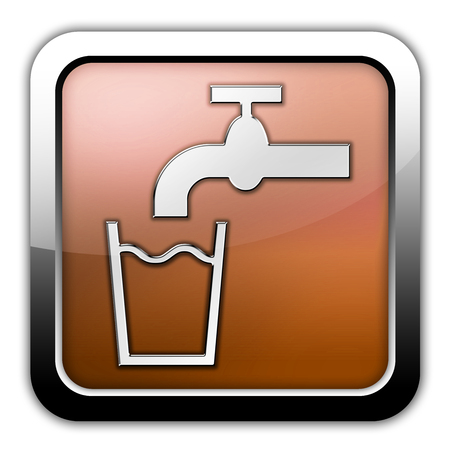 safe drinking water: Icon, Button, Pictogram with Running Water symbol Stock Photo