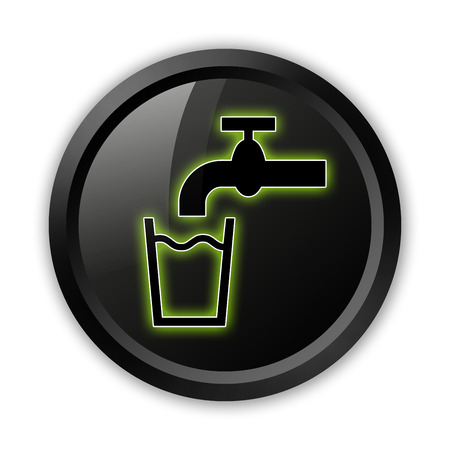 pushbuttons: Icon, Button, Pictogram with Running Water symbol Stock Photo