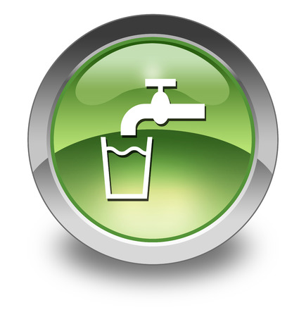 hydrate: Icon, Button, Pictogram with Running Water symbol Stock Photo