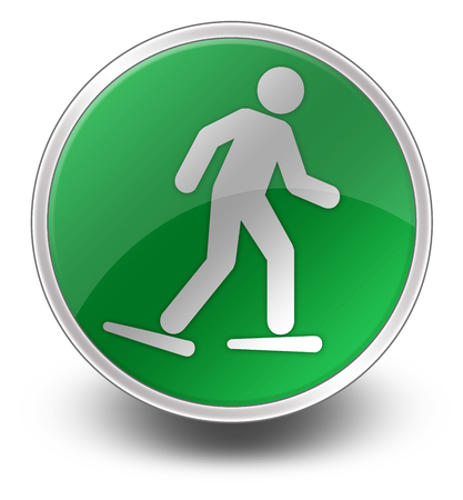 snowshoeing: Icon, Button, Pictogram with Snowshoeing symbol Stock Photo