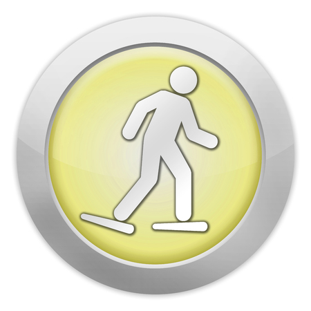 wintersports: Icon, Button, Pictogram with Snowshoeing symbol Stock Photo