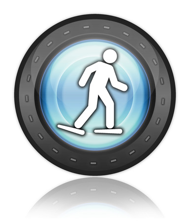 pictograph: Icon, Button, Pictogram with Snowshoeing symbol Stock Photo