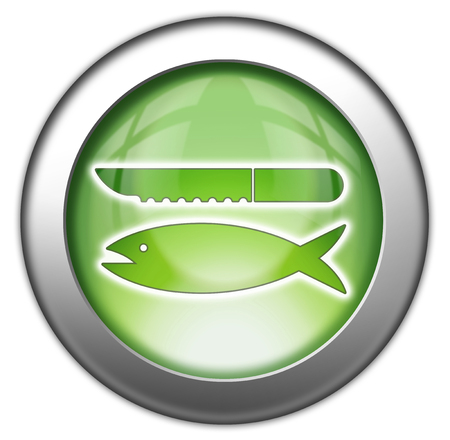 skinning: Icon, Button, Pictogram with Fish Cleaning symbol