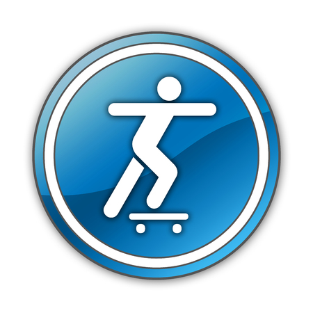 boarders: Icon, Button, Pictogram with Skateboarding symbol Stock Photo