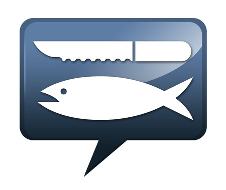 scaling: Icon, Button, Pictogram with Fish Cleaning symbol