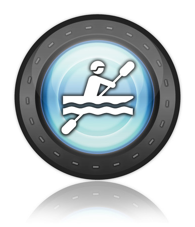 brook: Icon, Button, Pictogram with Kayaking symbol