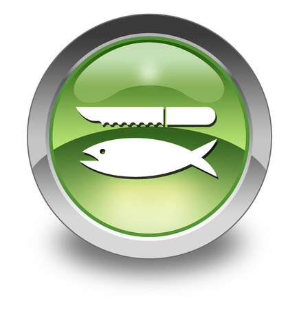 Icon, Button, Pictogram with Fish Cleaning symbol