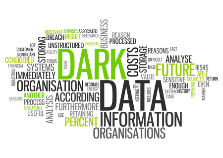 Word Cloud with Dark Data related tags Stock Photo