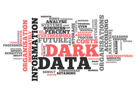 irrelevant: Word Cloud with Dark Data related tags Stock Photo
