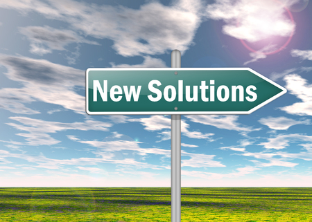 new solutions: Signpost with New Solutions wording