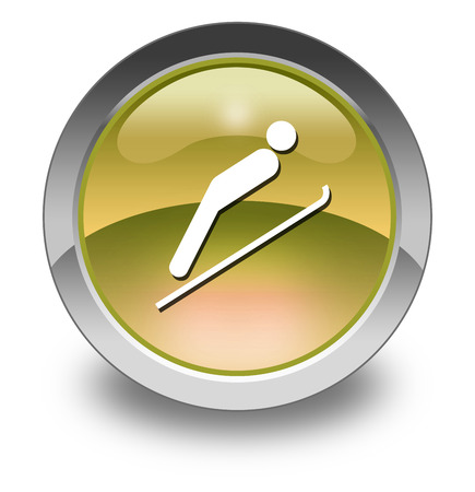 wintersports: Icon, Button, Pictogram with Ski Jumping symbol