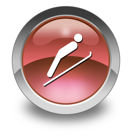 Icon, Button, Pictogram with Ski Jumping symbol